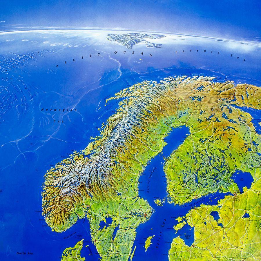 Mapa Scienna Europy Satelitarna Panoramiczna Mapy Scienne Z