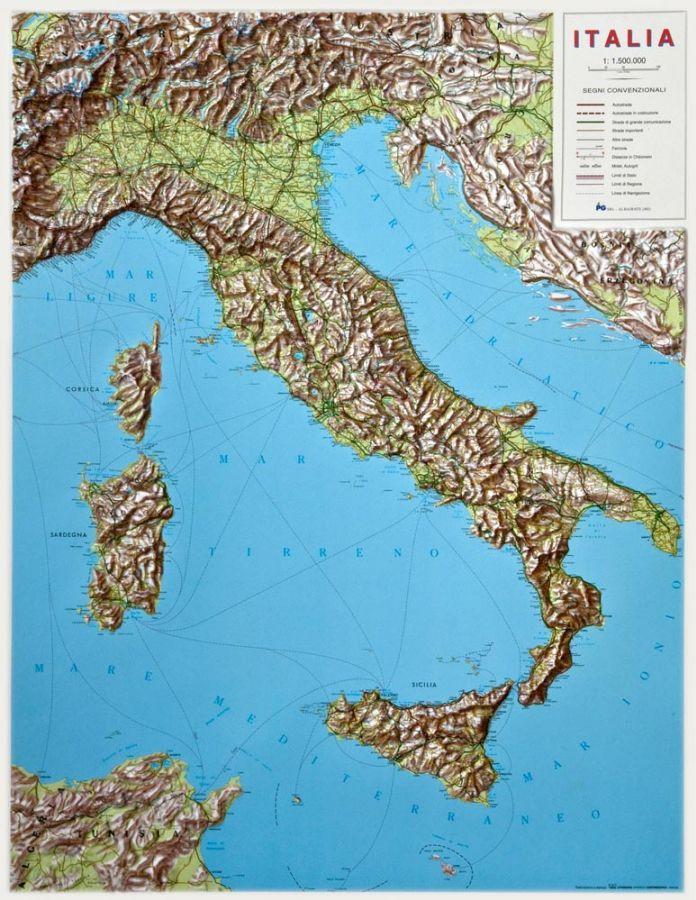 Mapa Plastyczna Wloch 3d Wypukla Mapy Scienne Z Kodami Pocztowym